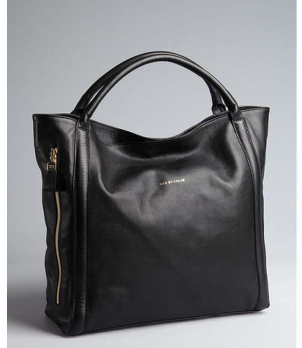See by Chloe black leather zip side large tote