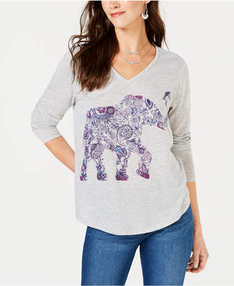 Style&Co. Style & Co Elephant-Graphic V-Neck T-Shirt