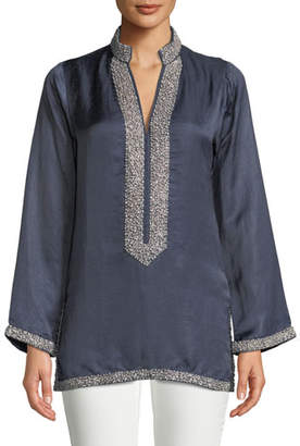 Bella Tu V-Neck Long-Sleeve Pearly Embellished Tunic with Mandarin Collar