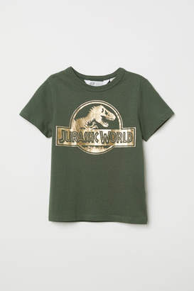 H&M T-shirt with Printed Motif - Green
