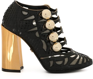 Dolce & Gabbana chunky-heel sheer-panels pumps