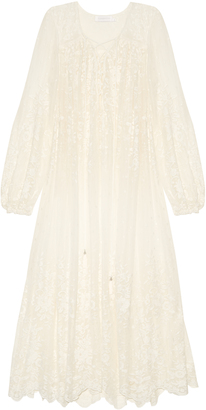 ZIMMERMANN Roza embroidered silk-georgette midi dress $630 thestylecure.com