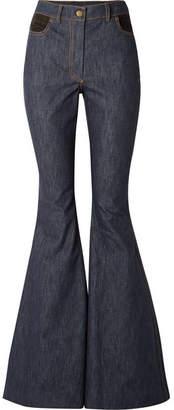Rosie Assoulin Plaid-trimmed High-rise Flared Jeans - Dark denim
