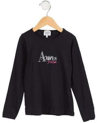 Armani Junior Girls' Embellished Logo Top
