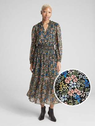 Gap Floral Print Long Sleeve Smocked Midi Dress