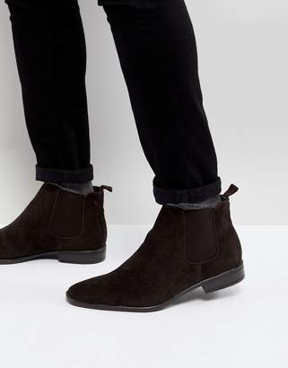 New Look Faux Suede Chelsea Boots In Dark Brown