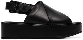 Ann Demeulemeester black 55 crossover slingback flatform sandals