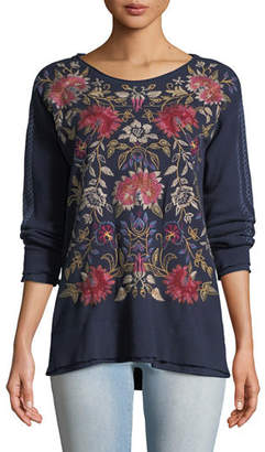 Johnny Was Simona Long-Sleeve Floral-Embroidered Thermal Top