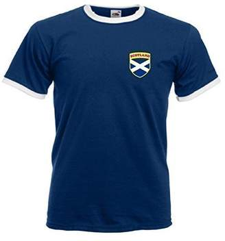 Invicta Screen Printers Men's Scotland Scottish Rugby Flag Crest T Shirt Navy/White