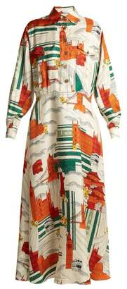 Gucci Cities Print Silk Twill Dress - Womens - White Multi