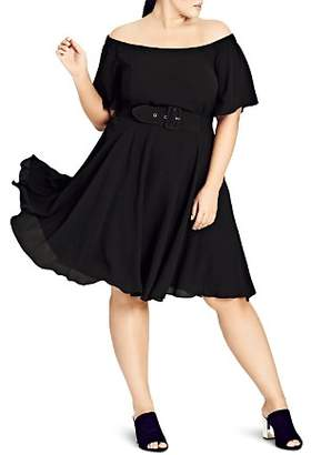 City Chic Plus Valerie Sheer Sweetheart Belted Dress