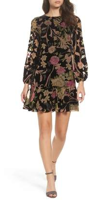 Eliza J Print Velvet Shift Dress