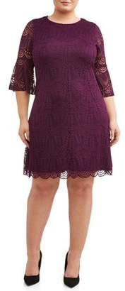 Lifestyle Attitudes Women's Plus Size Bell Sleeve Stretch Lace Dress