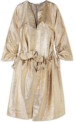 Stella McCartney Gali Gathered Lurex Dress - Gold