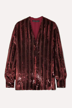 Sally LaPointe Striped Sequinned Chiffon Blouse - Claret