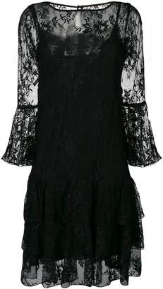 Blumarine lace embroidered flared dress
