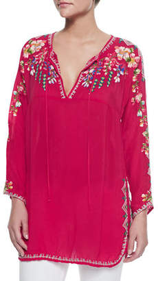 Johnny Was Vanessa Georgette Embroidered Tunic, Plus Size