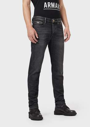 Emporio Armani Slim-Fit J75 Jeans In Worn Denim With Gold-Plated Details