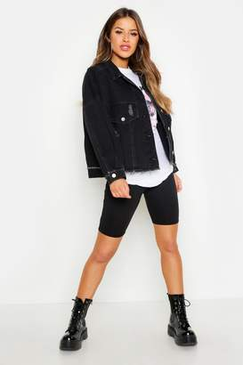 boohoo Petite Batwing Acid Wash Denim Jacket