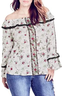 City Chic Love Story Floral Off the Shoulder Top