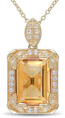 FINE JEWELRY Genuine Citrine, White Topaz and Diamond-Accent Pendant Necklace