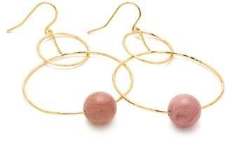 Gorjana 18K Gold Plated Rhodonite Interlocking Bead Hoop Drop Earrings