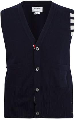 Thom Browne Striped-detail cashmere sleeveless cardigan