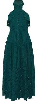Marissa Webb Pintucked Ruffle-Trimmed Corded Lace Midi Dress