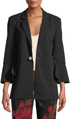 Romeo & Juliet Couture Ruffle-Sleeve Pearly-Button Blazer Jacket
