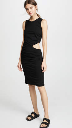 Monrow Shirred Dress with Waist Slit