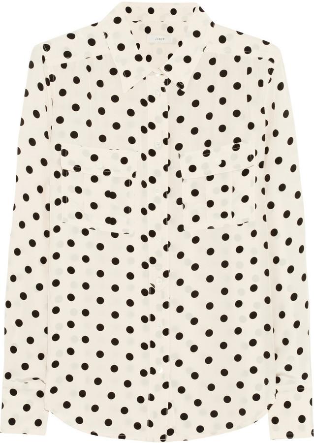 J.Crew Blythe polka-dot silk shirt