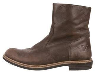 Armani Junior Boys' Leather Round-Toe Boots