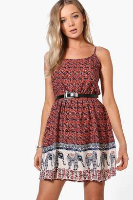 boohoo Kristen Elephant Print Sun Dress