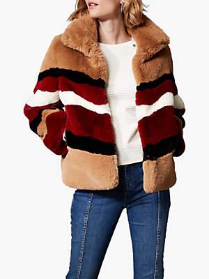 Karen Millen Faux Fur Colourblock Coat, Multi