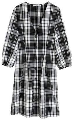 MANGO Pleated waist check dress
