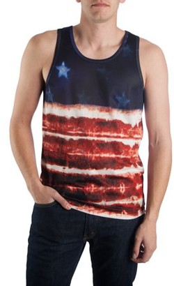 Pop Culture Big Men's Polyester Mesh All-Over Sublimated American Flag Tank