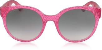 dd9e1ee00d Gucci GG0035S 005 Fuchsia Glitter Optyl Round Women s Sunglasses