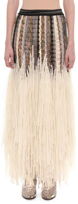 Missoni Mesh Top Yarn-Fringe Wool-Blend Long Skirt