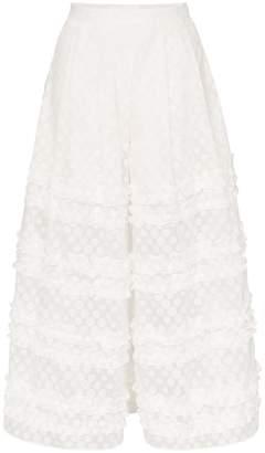 Paskal ruffle detail polka dot culotte trousers