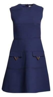 Valentino Wool V-Logo Pocket Front Dress