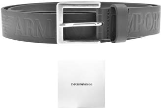 Giorgio Armani Emporio Logo Leather Belt Black