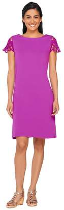 Liz Claiborne New York Lace Sleeve Bateau Neck Dress