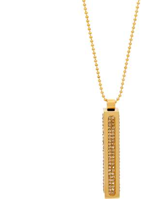 Steel By Design Stainless Steel Vertical Bar Crystal Pendant w/ Chain
