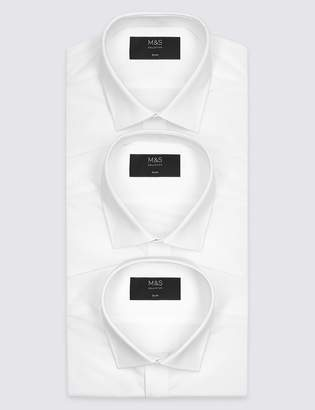 M&S CollectionMarks and Spencer 3 Pack Short Sleeve Slim Fit Shirts