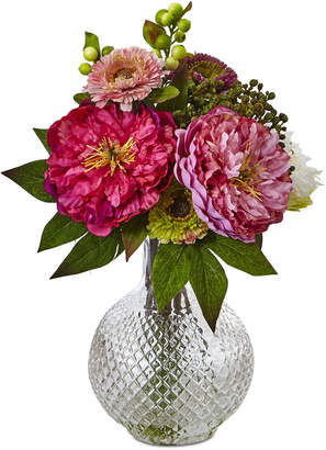 Nearly Natural Peony & Mum in Glass Vase
