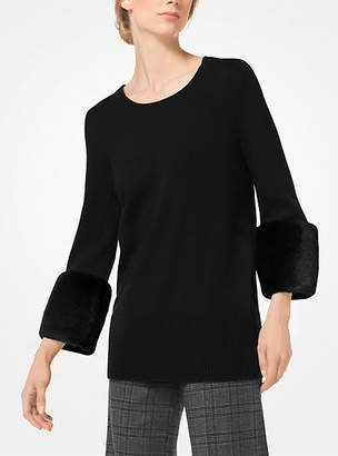 Michael Kors Mink-Cuffed Cashmere Pullover