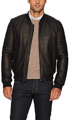 Cole Haan Men's Leather Quilted Lined Varsity Jacket