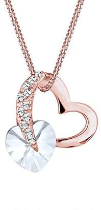 Elli Women's 925 Sterling Silver Gold Plated Xilion Cut Swarovski Crystals Pendant with Chain of Length 45 cm