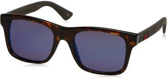 Gucci Men's Polarized GG0008S-003-53 Tortoiseshell Square Sunglasses