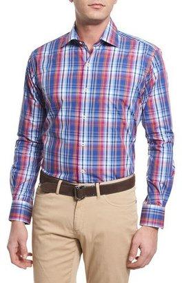 Peter Millar Melange Plaid Long-Sleeve Sport Shirt, Blue $145 thestylecure.com